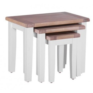 Chalked Oak And Light Grey Painted Furniture Nest of 3 Tables
