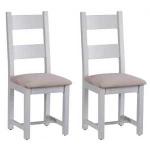 Pair of Chalked Oak And Light Grey Painted Furniture Horizontal Slats Dining Chair with Plush Asphalt Fabric Seat