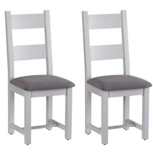 Pair of Chalked Oak And Light Grey Painted Furniture Horizontal Slats Dining Chair with Plush Slate Fabric Seat