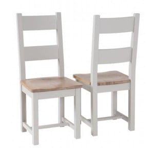 Pair of Chalked Oak And Light Grey Painted Furniture Horizontal Slats Dining Chair with Timber Seat