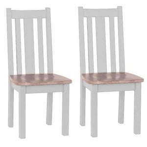 Pair of Chalked Oak And Light Grey Painted Furniture Vertical Slats Dining Chair with Timber Seat