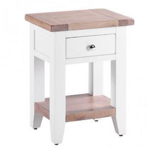 Chalked Oak And Pure White Furniture 1 Drawer 1 Shelf Bedside Table