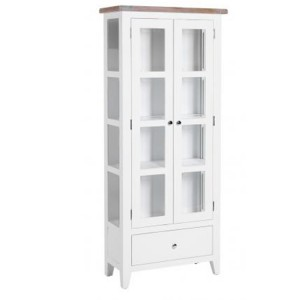 Chalked Oak And Pure White Furniture 1 Drawer 2 Door Glazed Display Cabinet