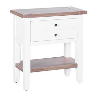Chalked Oak And Pure White Furniture 1 Drawer Hall Console Table