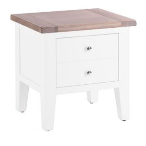 Chalked Oak And Pure White Furniture 1 Drawer Lamp Table
