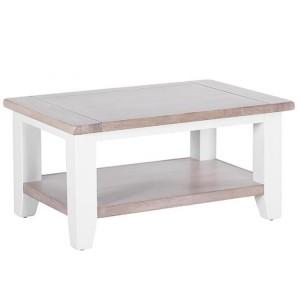 Chalked Oak And Pure White Furniture 1 Shelf Rectangular Coffee Table