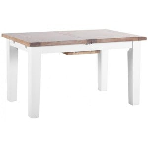 Chalked Oak And Pure White Furniture 140-180 Extending Dining Table