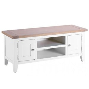 Chalked Oak And Pure White Furniture 2 Door 1 Shelf TV Unit