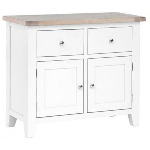 Chalked Oak And Pure White Furniture 2 Drawer 2 Door Buffet Sideboard