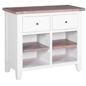 Chalked Oak And Pure White Furniture 2 Drawers 2 Shelves Buffet Sideboard
