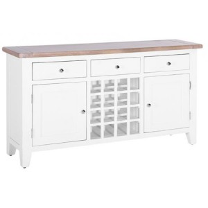 Chalked Oak And Pure White Furniture 3 Drawer 2 Door Wine Table