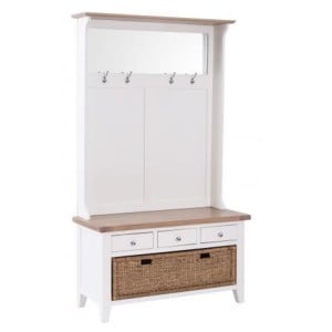 Chalked Oak And Pure White Furniture 3 Drawer Hall Tidy Bench