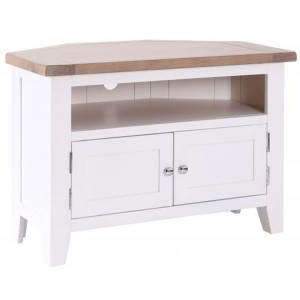 Chalked Oak And Pure White Furniture 90 Degree Small Corner TV Unit