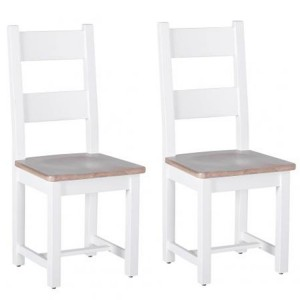 Chalked Oak And Pure White Furniture Horizontal Slat Back Dining Chair Pair