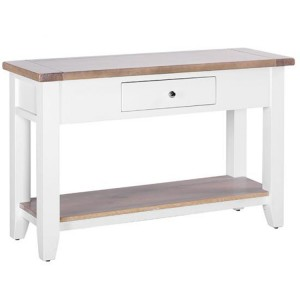 Chalked Oak And Pure White Furniture Large 1 Drawer Hall Console Table