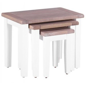 Chalked Oak And Pure White Furniture Nest of 3 Tables