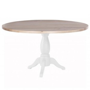 Chalked Oak And Pure White Furniture Round Pedestal Dining Table