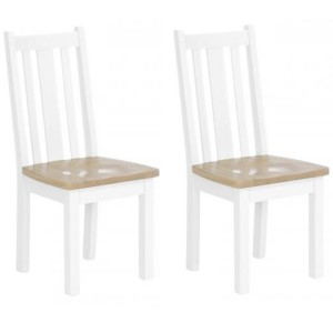 Chalked Oak And Pure White Furniture Slat Back Timber Seat Dining Chair