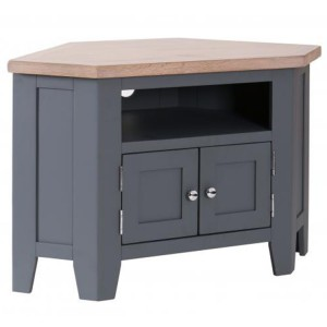 Chalked Oak And Downpipe Furniture 90 Degree Large Corner TV Unit