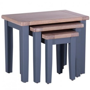Chalked Oak And Downpipe Furniture Nest of 3 Tables
