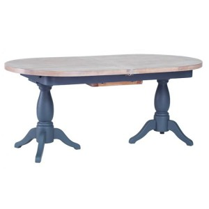 Chalked Oak And Downpipe Furniture Twin Pedestal Extending Dining Table