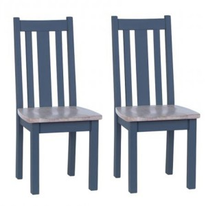 Chalked Oak And Downpipe Furniture Slat Back Timber Seat Dining Chair Pair