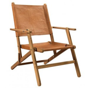 Durban Collection Brown Leather Wooden Chair