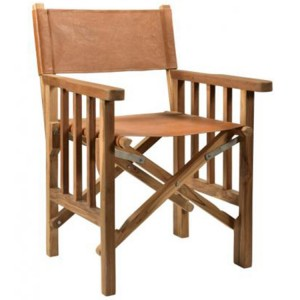 Durban Collection Brown Leather Wooden Director Chair