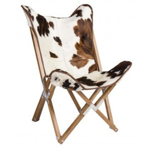 Durban Collection Cow Print Butterfly Fabric Chair