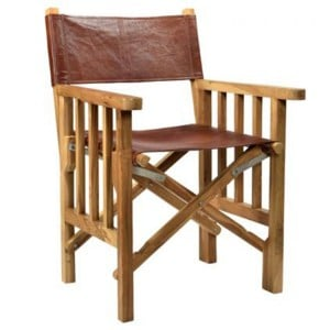 Durban Collection Red Leather Wooden Director Chair