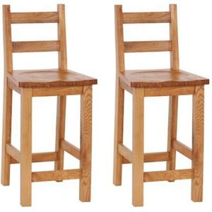 Evelyn Oak Kitchen Furniture Bar Stool with Timber Seat Pair
