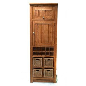 Evelyn Oak Kitchen Furniture Larder with Wine Rack and 4 Baskets