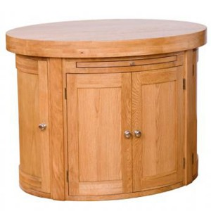 Evelyn Oak Kitchen Furniture Oval 6 Door Island with Fixed Shelf