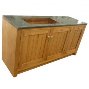 Evelyn Oak and Granite Rectangular 3 Door Kitchen Sink Unit