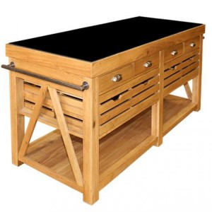 Evelyn Oak and Granite Rectangular Kitchen Island with 12 Drawers