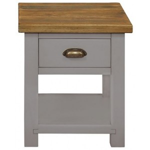 Fairford Grey Painted Furniture 1 Drawer Lamp Table with Shelf