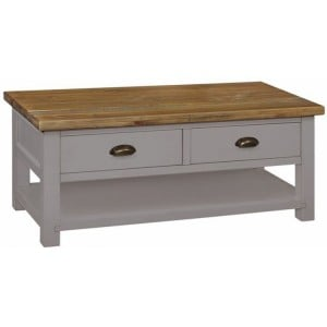Fairford Grey Painted Furniture 2 Drawer Large Coffee Table