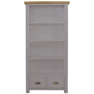 Fairford Grey Painted Furniture 2 Drawer Tall Bookcase