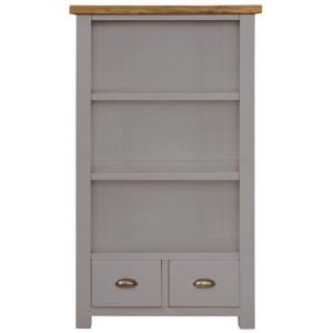 Fairford Grey Painted Furniture 2 Drawer Wide Bookcase