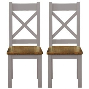 Fairford Grey Painted Furniture Dining Chair Pair Wooden Seat Pad