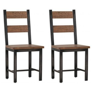Forge Iron and Old Oak Furniture Dining Chair Pair