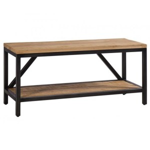 Forge Iron and Solid Oak Large Hall Bench
