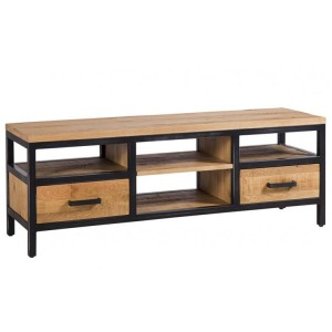 Forge Iron and Solid Oak Large TV Unit