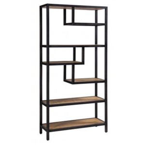 Forge Iron and Solid Oak Shelf Rack