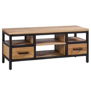 Forge Iron and Solid Oak Small TV Unit