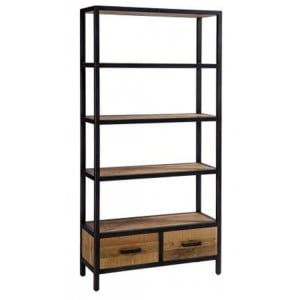 Forge Iron and Solid Oak Tall 2 Drawer Bookcase