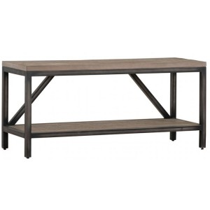 Forge Iron and Weathered Oak Furniture Large Hall Bench with Shelf