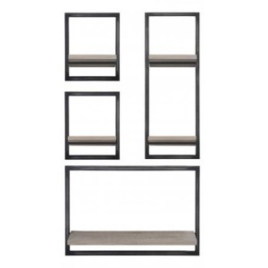 Forge Iron and Weathered Oak Furniture Tall Large Wall Display Unit KD