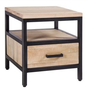 Forge Iron and White Wash Oak 1 Drawer Side Table with Shelf