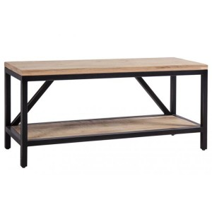 Forge Iron and White Wash Oak Large Hall Bench with Shelf
